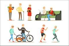 活的老人充分居住和享受他们的微笑的年长漫画人物的爱好和休闲汇集 向量例证