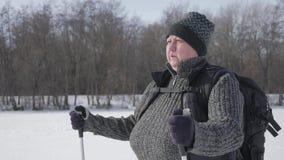 活跃参与北欧走一名年长妇女用在冬天森林健康生活方式概念的棍子 ?? 股票录像