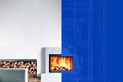 活跃现代壁炉 分区屏幕从图画到照片 库存图片
