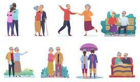 活跃生活方式老祖父母 老年人字符 动画片前辈家庭活动被隔绝的传染媒介 皇族释放例证