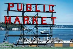 派克位置公开市场签到西雅图华盛顿 库存图片