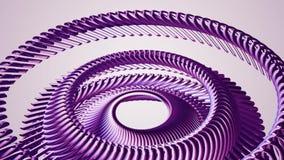 流体运动的转动的紫色金属链子眼睛盘旋无缝的圈动画3d行动图表背景新的质量 库存例证