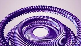 流体运动的转动的紫色金属链子眼睛盘旋无缝的圈动画3d行动图表背景新的质量 向量例证