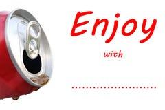 流动从红色铝beverag的可乐饮料侧视图 库存图片
