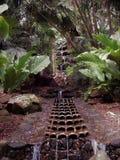 流动入与一个雕刻的水特点的一个水池的瀑布在考艾岛的夏威夷一个庭院里 库存图片