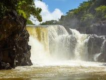 流动入海洋的瀑布的美丽的景色 免版税库存图片