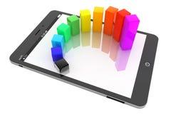 流动商业概念。在片剂个人计算机的五颜六色的图表 免版税库存图片