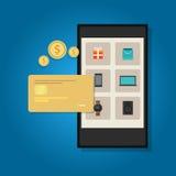流动商务网上信用卡巧妙的电话 库存例证