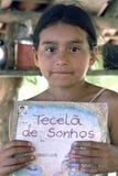 流动图书馆在小学在巴西 免版税库存照片