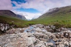 流动在一个遥远的苏格兰幽谷的小河 苏格兰,在减速火箭的样式的UK.Photo 库存照片