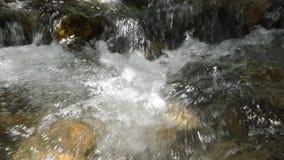 流动在大瀑布和水飞溅的河 股票录像