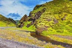 流动在峡谷下的小河 免版税库存照片