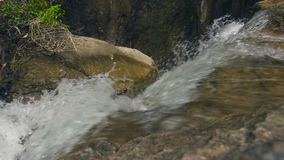 流动在热带森林小河河水的迅速河从流动在大石头的瀑布 股票录像