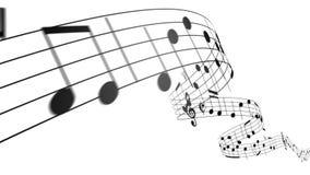 流动在白色背景的音乐笔记 无缝的动画 库存例证