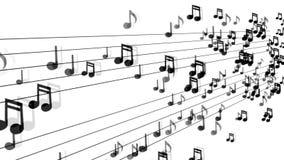 流动在白色背景的音乐笔记 向量例证