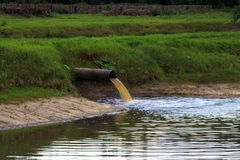 流动在管子外面的水 库存图片