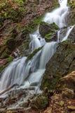 流动在青苔隐蔽的岩石之间的美丽的瀑布 库存照片