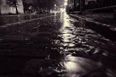 流动在鹅卵石街道上的雨水在赫尔辛基 库存照片