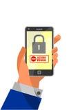 流动安全概念:访问否认在智能手机 免版税图库摄影
