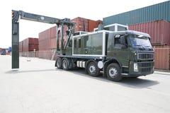 流动容器扫描器卡车 免版税库存照片