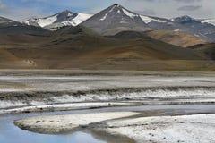 流动沿在高西藏小山中的盐沙漠的山河,盐白色银行看起来象雪,北印度 免版税库存照片