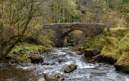流动的小河在一座石桥梁下在布雷肯比肯斯山 免版税库存照片