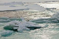 流动的开放河水阻塞了冰川摘要 免版税库存照片