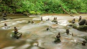 流动的水和石头在河 股票视频