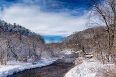 流动的Kinnickinnic河在冬天 库存照片