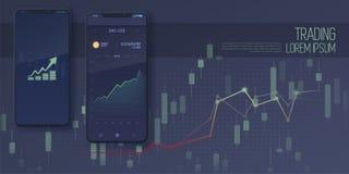 流动股票交易概念网横幅, 库存照片