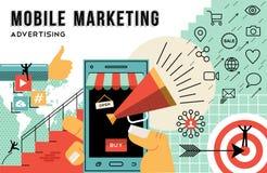 流动营销和广告概念线艺术 免版税库存图片