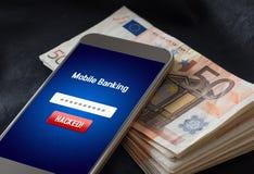 流动银行业务文丐和网络安全概念 免版税图库摄影