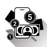 流动银行业务象剪影金钱和硬币在巧妙的电话在白色Backgroound与阴影 免版税库存照片