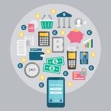 流动银行业务,网上付款 向量例证