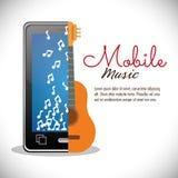 流动音乐智能手机吉他卡片笔记音乐 免版税库存照片