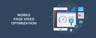流动页速度优化,搜索引擎优化,流动seo概念 平的设计传染媒介横幅 皇族释放例证