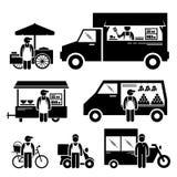 流动食物车Cliparts 免版税库存照片