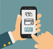 流动付款信用卡片,拿着电话,平的设计的手 图库摄影