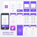 流动App物质设计, UI, UX成套工具 免版税库存图片