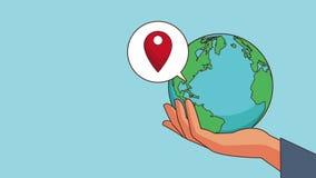 流动GPS和世界HD动画 皇族释放例证