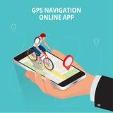 流动GPS航海、旅行和旅游业概念 观看在手机的一张地图在自行车和查寻GPS座标 免版税库存图片