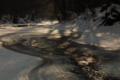 流在冬天 库存照片