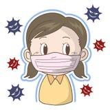 流感和寒冷-女孩的预防 皇族释放例证