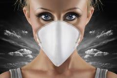 流感猪妇女 免版税库存图片