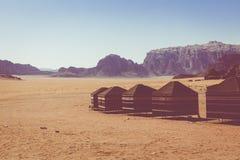 流浪者的沙漠阵营,瓦地伦沙漠在约旦,中东 免版税库存图片