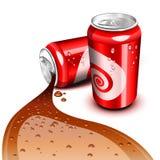流的可乐罐头 免版税库存图片