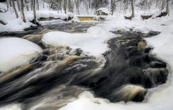 流的瀑布冬天 库存图片