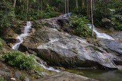 流经美丽的绿色森林的热带瀑布惊人的风景 图库摄影