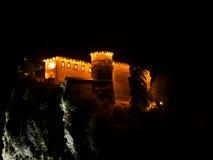 流血的城堡在夜,斯洛文尼亚 库存图片