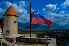 从流血的城堡,斯洛文尼亚的顶端惊人的看法 免版税库存照片